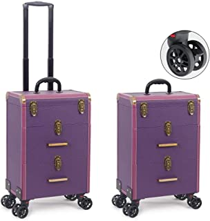 TONGSH Rolling Artist Makeup Cosmetic Train Case, Trolley Cosmetic Luggage Case Extra Large with 4 360 Degree Wheels Telescopic Pull Rod Handle Nail Polish Technician (Color : Purple)