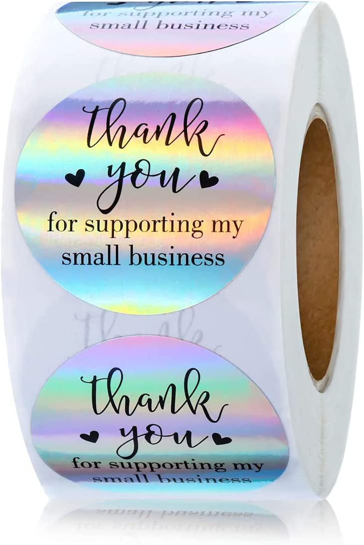 1inch Thank You Stickers Thank You Labels Seals Thank You Glitter Gold Label Stickers for Envelopes, Bubble Mailers and Gift Bag Packaging Party Supplies, 500 Pieces