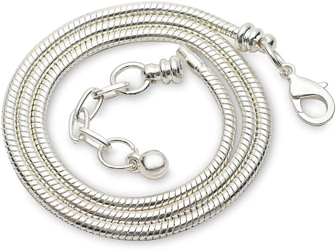 RUBYCA 5pcs 45cm White Silver Necklace Be super welcome Europe Chain Plated [Alternative dealer] Snake