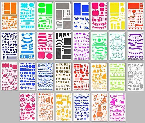 XIAODONG 30 Stück Bullet Schablonen-Set, Journal Planer Schablonen für Notizbuch, Tagebuch, DIY Scrapbook, inklusive Briefschablone, Zahlenschablonen