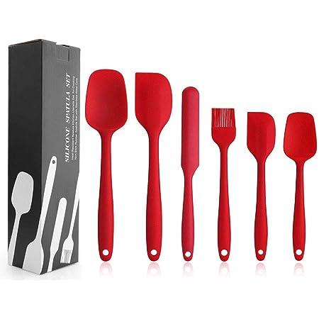 EKKONG Spatule Silicone de Cuisine Set de 6 Spatule en Silicone Résistant à la Chaleur pour Cuisiner Spatule Pâtisserie, Cuillère Spatule, Anti-adhé, sans BPA (Rouge)