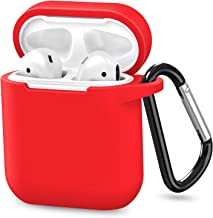 Upgraded AirPods Case, ATUAT ProtectiveSiliconeCover(Front LED Visible) Compatiblewith Apple AirPods 1 and 2(Red)