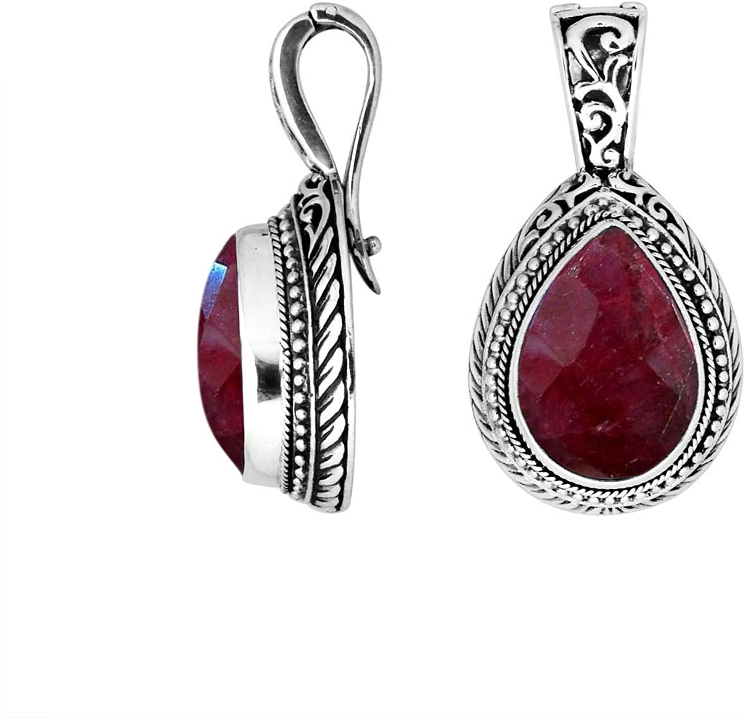 Sterling Silver Pear Shape Pendant with Ruby & Enhancer Pendant Bail AP8028RB