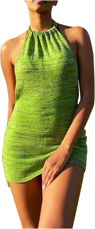 YUSD Women Sleeveless Bodycon Short Dress Solid Crew Neck Summer Tank Shirt Mini Dresses Sexy Bodycon Clubwear Dress