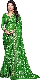 Indian Traditional green Bandhej Art Silk Zari weaving Festival Bandhani Printed Saree Blouse Sari 6316 2