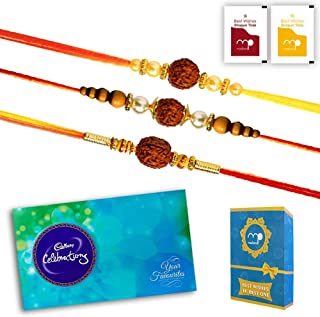 SaiArtGallery Rakhi Chocolate Combo - Cadbury Celebration - Set of 3 Rudraksh Rakhi for Brother Small Multicolor
