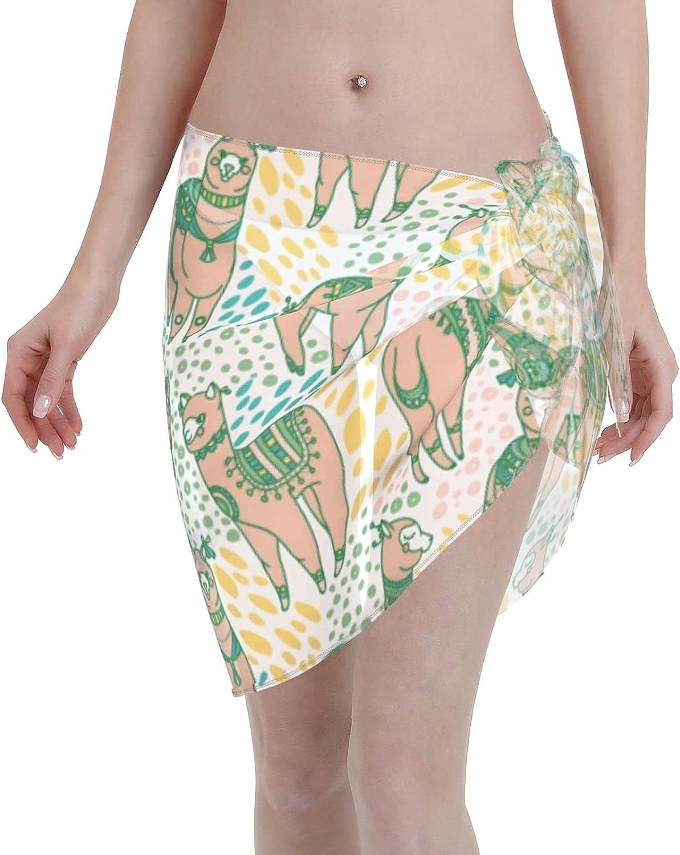 Funny Chicken Women Beach Short Sarongs Cover Ups Chiffon Bikini Wrap Skirt for Swimwear