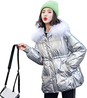 LUKEEXIN Women's Fashion Medium Length Thickened Down Jacket with Fur