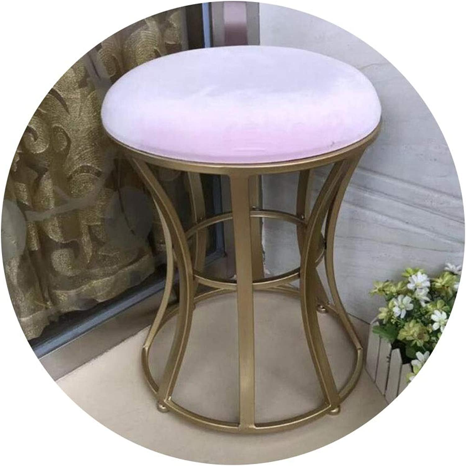 BYCSD Wrought Iron golden Bedroom Dressing Stool Girl Vanity Stool Modern Minimalist Small Round Stool Fitting Room (color   Light Pink)
