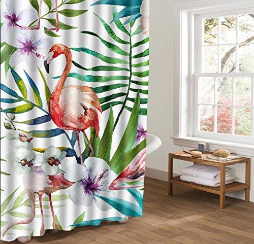 HONGJIA Rideau de Douche Anti Moisissure Vert Blanc Tissu Imperméable de Rideaux pour Salle de Bain 48\