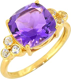 YoTreasure Amethyst White Topaz Solid 925 Sterling Silver Gold Plated Ring Genuine Gemstone Jewelry For Women or Girls Hyp...