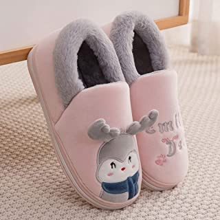 Winter Home Warm Cartoon Bagged Plush Cotton Slippers-Comfortable Indoor Thick Bottom Non-Slip TPR Couple Men's Home,Pink,38