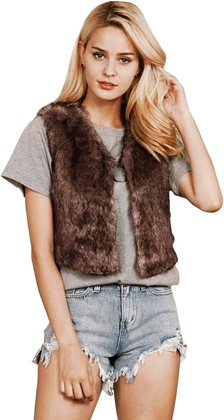 Simsly Autumn Fur Regular dealer Vest Sleeveless Vests Lightweight Faux specialty shop Win