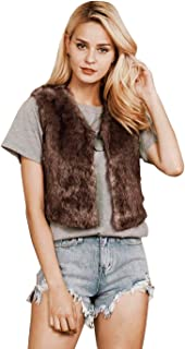 Simsly Autumn Fur Vest Sleeveless Lightweight Faux Fur Vests Winter Warmer Jacket Coat for Women and Girls(Brown)