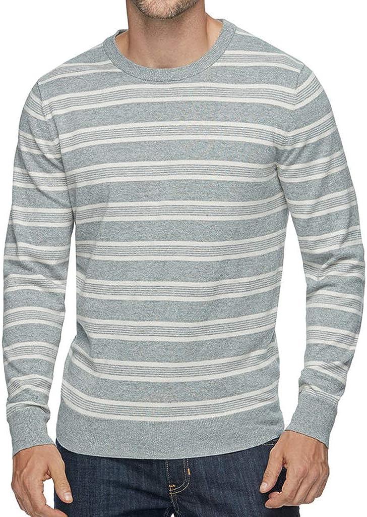 Sonoma Men's Coolmax Classic-Fit Striped Crewneck Pullover Performance Sweater