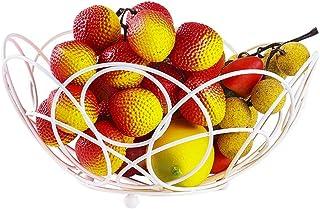 YSDHE 錬鉄製のレースフルーツバスケットクリエイティブフルーツと野菜のスナックリビングルームホーム収納バスケットモダンミニマリストフルーツプレート (Color : White)