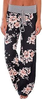 neveraway Women Elastic Waist Stretch Slacks Relaxed Palazzo Lounge Pants