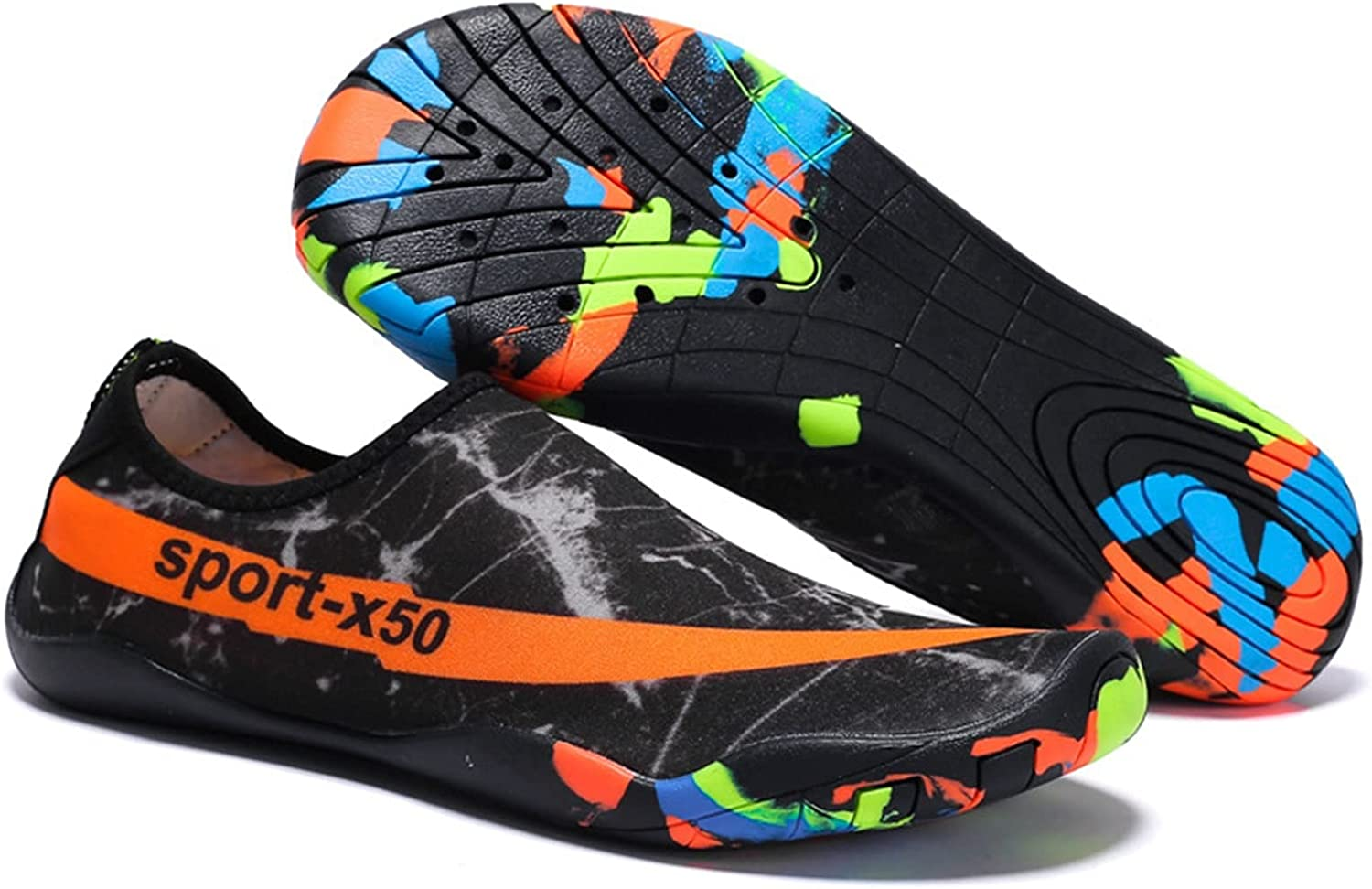 Jiahezi Mens Womens Water Sports Shoes Quick-Dry Lightweight Barefoot Wide Feet Toe Solid Drainage Sole for Swim Diving Surf Aqua Pool Beach (Color : 1918 Black Orange, Size : 46 Yards 28.7cm)