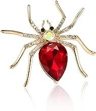 Steen 1 Pcs Spider Crystal Brooch Rhinestones Wedding Boutonniere Red