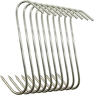 Muchfun 10Pcs 5 Inches Meat Hooks, Stainless Steel Butcher Hooks for Meat Processing