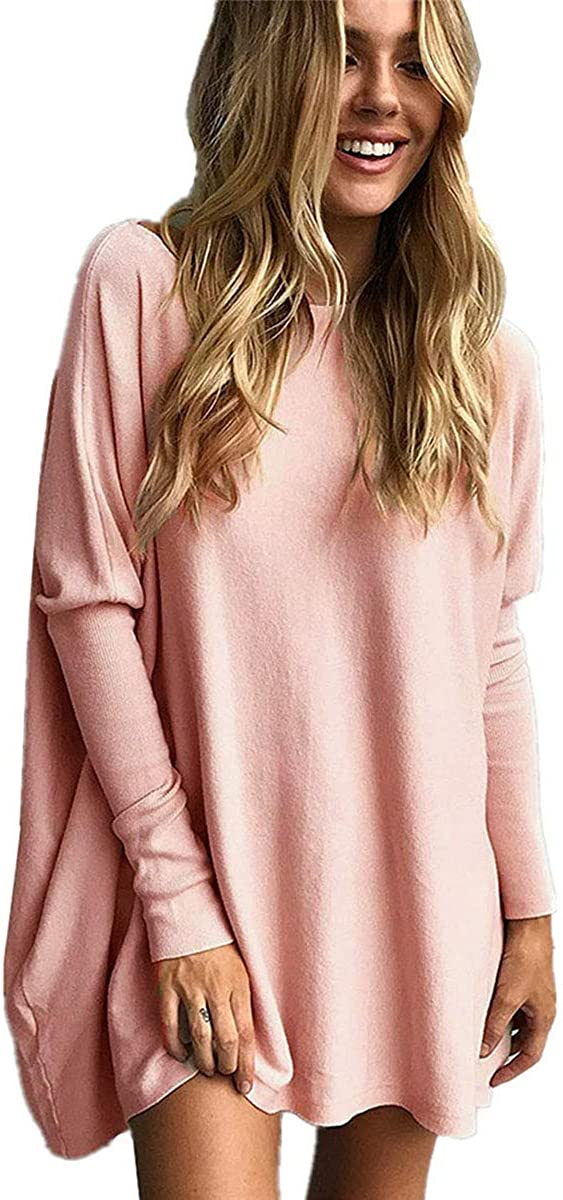 Poetsky Women's Batwing Sleeve Shirts Loose Baggy Tunic Tops Casual Boat Neck Oversized Pullover Blouses