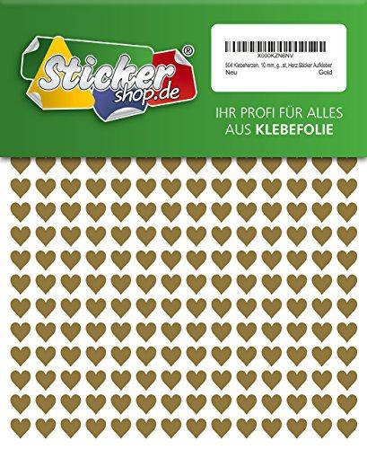 504 Klebeherzen, 10 mm, gold, aus PVC Folie, wetterfest, Herz Sticker Aufkleber