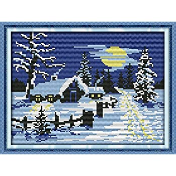 Seaside Landscapes 22.1/×16.6 inch Maydear Cross Stitch Kits Stamped Full Range of Embroidery Starter Kits for Beginners DIY 11CT 3 Strands