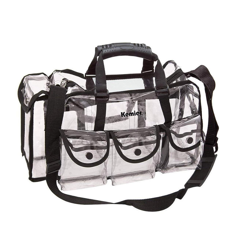 威するシチリア予想外Kemier 透明 ハンドバッグ 機能的 コスメポーチ メイクポーチ メイクケース 小物入れ 化粧道具 整理整頓 軽量 防水 旅行 小物入れ 6つの外側ポケット付き