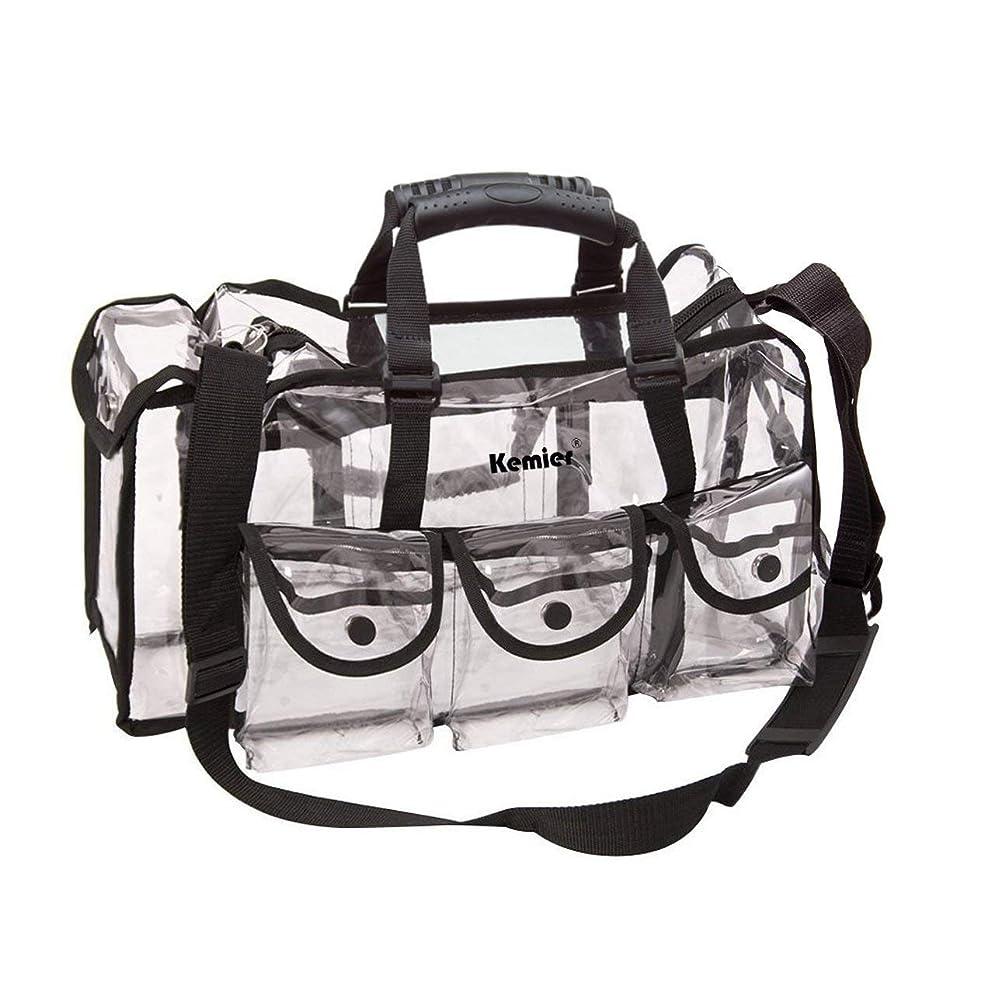 前者凍結先駆者Kemier 透明 ハンドバッグ 機能的 コスメポーチ メイクポーチ メイクケース 小物入れ 化粧道具 整理整頓 軽量 防水 旅行 小物入れ 6つの外側ポケット付き