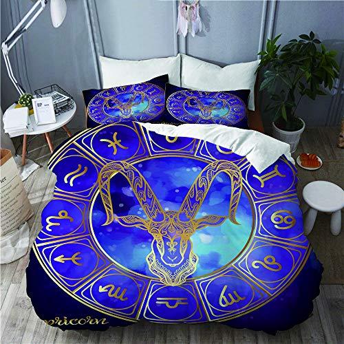 SUHOM Bettwäsche-Set,Steinbock Sternzeichen Astrologische Horoskopsammlung Gold auf ultraviolettem Raum,Mikrofaser Bettbezüge Set mit Reißverschluss,und Kopfkissenbezüge,240x260