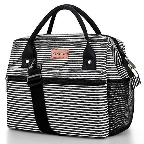 KINBON Lunch Bag Insulated Lunch Box for Women Men, Reusable Lunch Bag with Adjustable Shoulder Strap, Leak Proof Cooler Lunch Bag Water Resistant-Grey Stripes