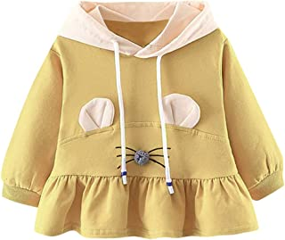 SRYSHKR-Beauty Baptism Gifts for Baby Girl,Toddler Baby Kids Girls Ruched Ruffles Ear Hooded Casual Dresses Clothes
