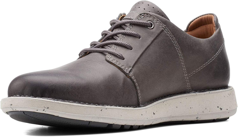 Clarks Men's Un Larvik Lace 2 Oxford, Grey Leather, 12