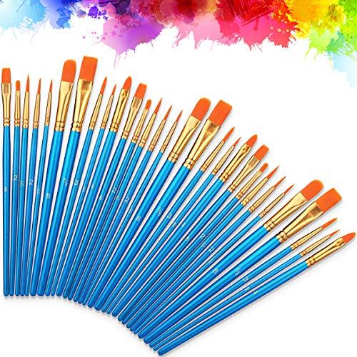 Moonlisa Nylon Artista Pennello, 30 Pz Pennelli Dipingere Pennelli Pittura Nylon Set per Principianti, Bambini, Artisti, Amanti della Pittura Olio e Modello Viso Painting Arte