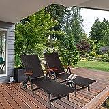 Sonnenliege, Gartenliege klappbar mit Rädern und Armlehne - 6