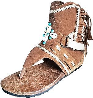 BIBOKAOKE Dames retro teenslippers sandalen schachtsandalen coole enkellaarsjes wigsandalen clogs pantoletten Romeinse san...