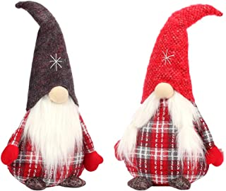 CSH Handmade Swedish Gnome,Gnomes Plush,Santa Claus Decoration,Elf with a Christmas Hat,Nordic Figurine,Plush Elf Toy,Gifts Christmas,Home Decor,Winter Table Ornament,Christmas Decorations,Set of Two