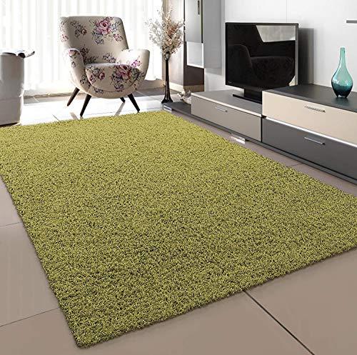 SANAT Teppich Wohnzimmer - Hellgrün Hochflor Langflor Teppiche Modern, Größe: 80x150 cm