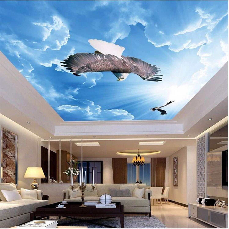 tienda en linea Qbbes Personalizado Cualquier Cualquier Cualquier Tamao Pintura Moderna Arte Mural Cielo Azul Nubes blancoas Volar águila Sala De Estar Dormitorio Techo Papel Tapiz Murales 3D-200X140Cm  salida