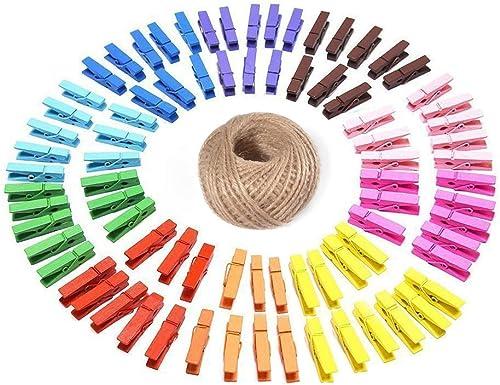 G2PLUS 100PCS Pinces à Linge Colorées en Bois,Clips Photo en Bois avec Bobine de Ficelle de Jute de 30M pour Vêtement...