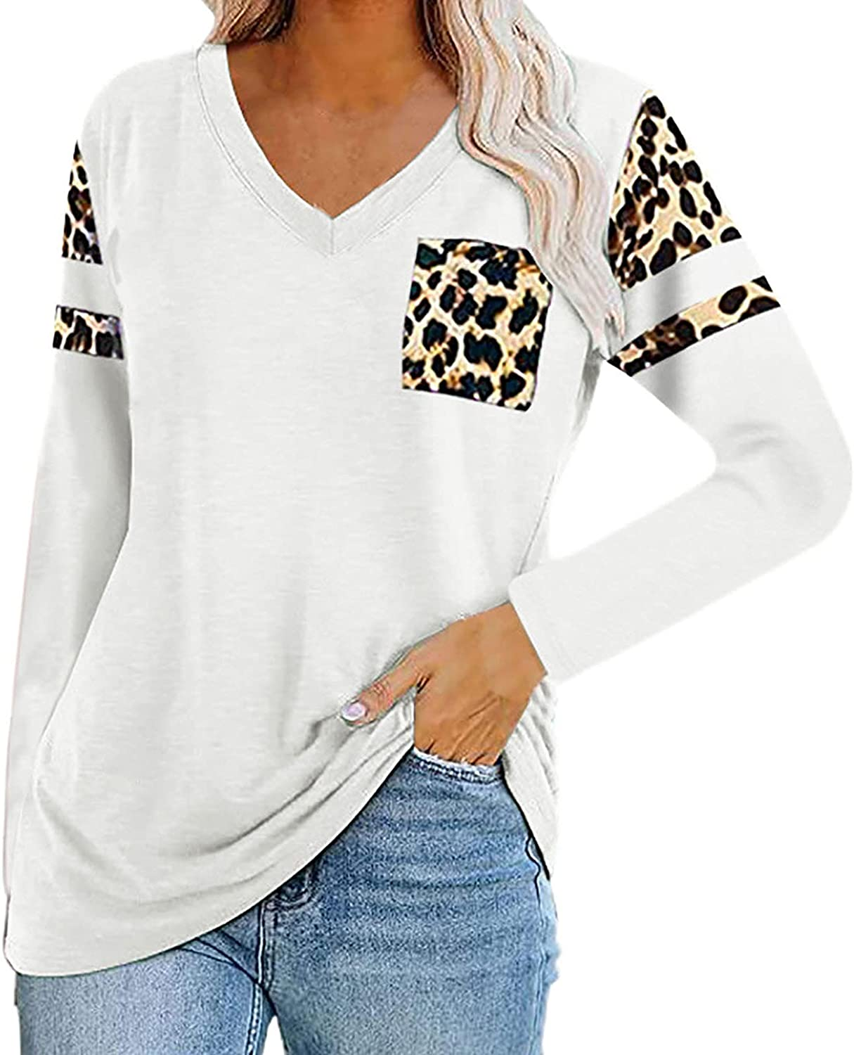 5665 Women's Leopard Print Pullover T-Shirt Casual V-Neck Long Sleeve Tunic Tops Workout Sport Loose Fit Blouse Sweatshirt