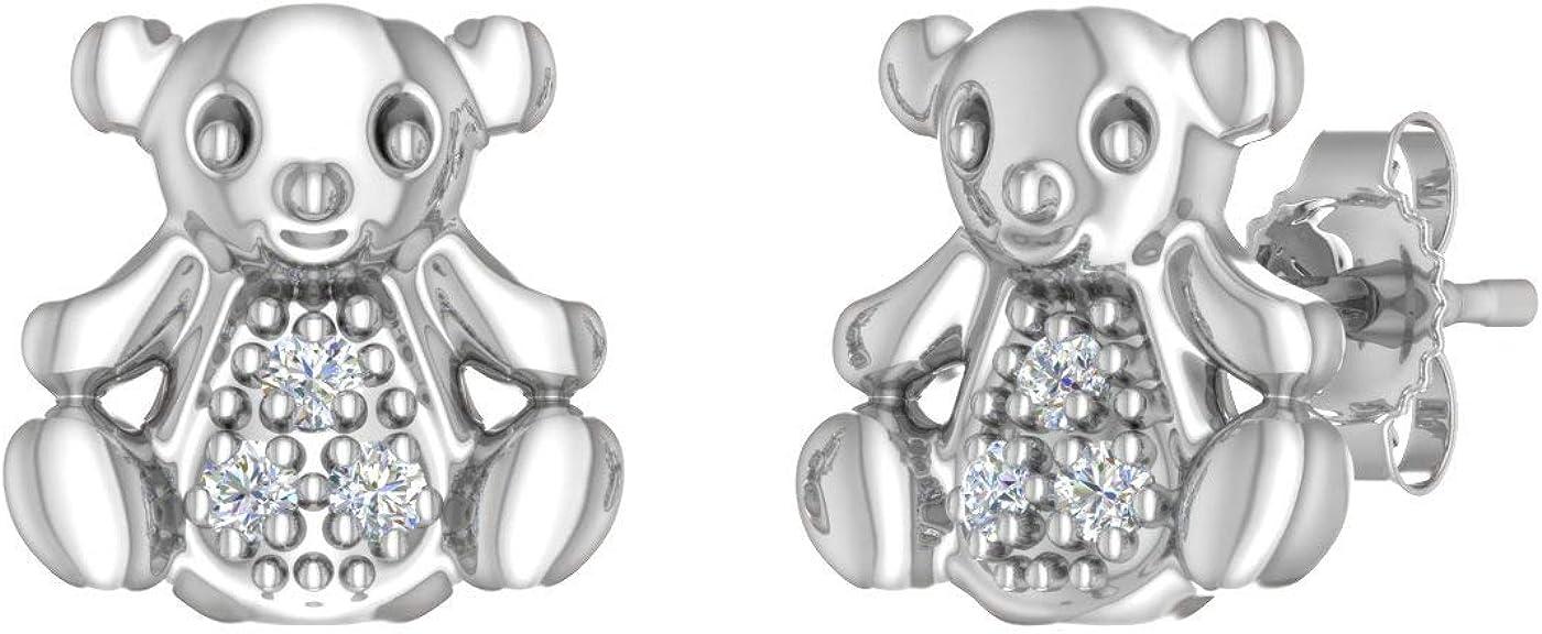 Animal Diamond Stud Earrings in 10K White Gold