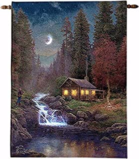 Manual Woodworker Wall Hanging-Away From It All-Fiber Optic Tapestry w/Remote (26 x 36)