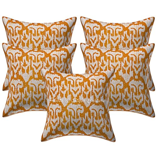 Stylo Culture Algodón Impreso Kantha Mostaza Amarillo 16x16 Ethnic Cojín Cubierta Ikat Decorativo Cuadrado Conjunto De 5
