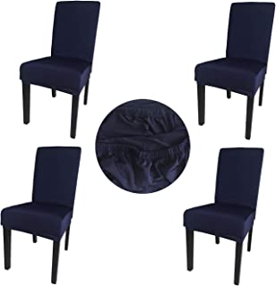 Gold Fortune Spandex Fabric Stretch Removable Washable Dining Room Chair Cover Protector Seat Slipcovers Set of 4 (Navy)