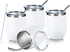 COMOOO White Stainless Steel Wine Tumbler 12oz Insulated Wine Tumbler Cup Set of 4 with..