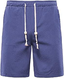 Andopa Mens Half Pants Waistband Stretchy Cotton Linen Beach Board Shorts