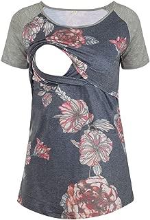 Glampunch Women's Breastfeeding T-Shirt Patchwork Short Sleeve Raglan Sleeve Maternity and Nursing Tops