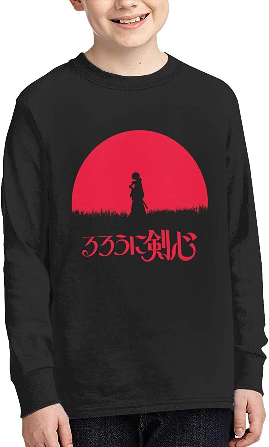Teens Boys Cotton 3D Printed Novelty Round Neck Long Sleeve T-Shirts Anime Graphic Tees Shirt Tops