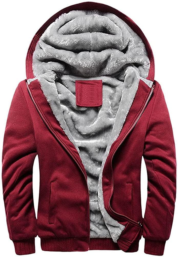 JSPOYOU Men's Winter Thick Fleece Sweatshirt Jacket Heavyweight Wool Warm Hoodie Coat Sherpa Lined Zipper Pullover